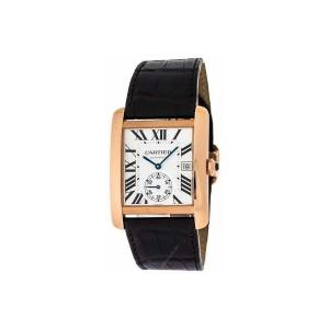 / Cartier Tank MC Mechanical Silver Dial Mens BROWN Leather Watch W5330001