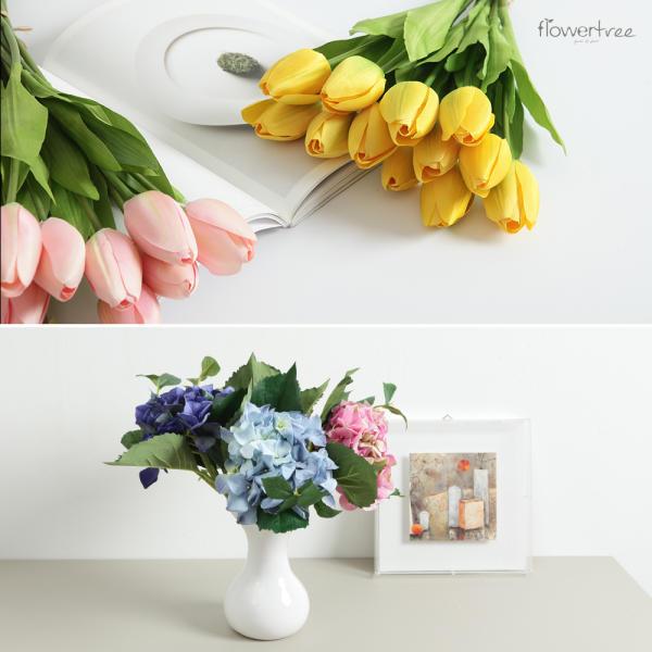 고급 조화 27종 인테리어 소품 화분 장식 꽃다발 성묘 장미 개해바라기 튤립 백합 수국 벚꽃
