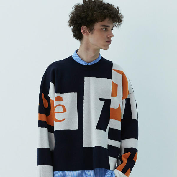 RIOT GRAPHIC BOX KNIT (NAVY)
