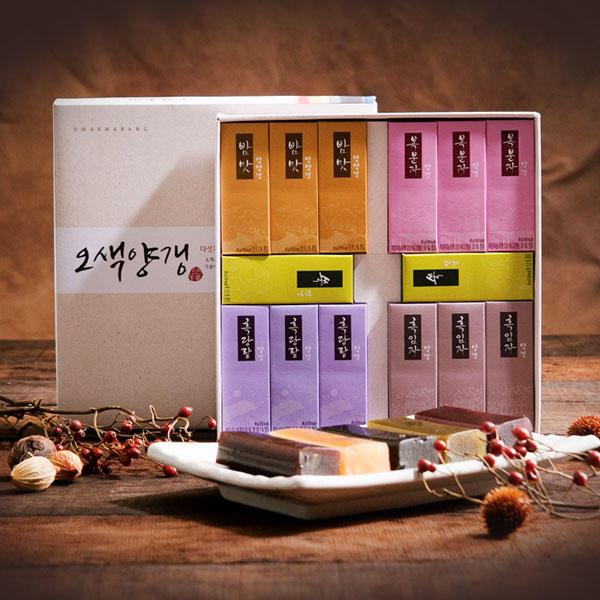 [화과방] 오색양갱 선물세트(45gx14입)+쇼핑백/4가지맛 전통간식 어르신간식 양갱세트